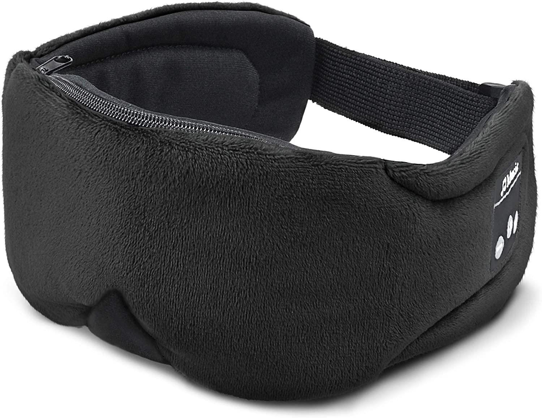Bluetooth Sleep Headphones, [2020 Upgraded] Flashmen Wireless 5.0 Sleeping Headphones Washable Bluetooth Sleep Eye Mask with Flat Speaker Mic for Sleeping Travel Music