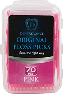 DentAdvance Original Dental Floss Picks - Easy Reach Back Teeth   Tooth Flossers   Pink, Unflavored, 70 ct, w/ Travel Case
