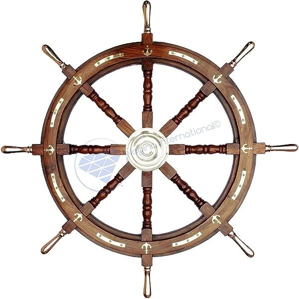 Nagina International 36 航海轮带黄铜锚和把手海盗家居装饰