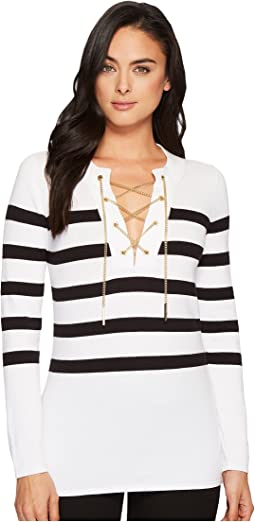 Laced Chain Tunic Sweater