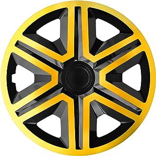 Luckyberg Radkappen   'Fast LUX/Action' 15 Zoll 4er Set   Universal Fit für Autos und andere Fahrzeuge (Gold/Schwarz)