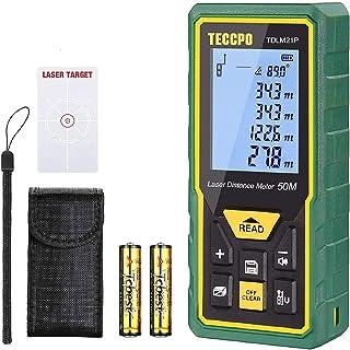 comprar comparacion Telémetro Láser 50m, TECCPO Medidor Láser de Distancia con Precisión ± 2mm, Niveles de Burbuja con Función de Silencio, Se...