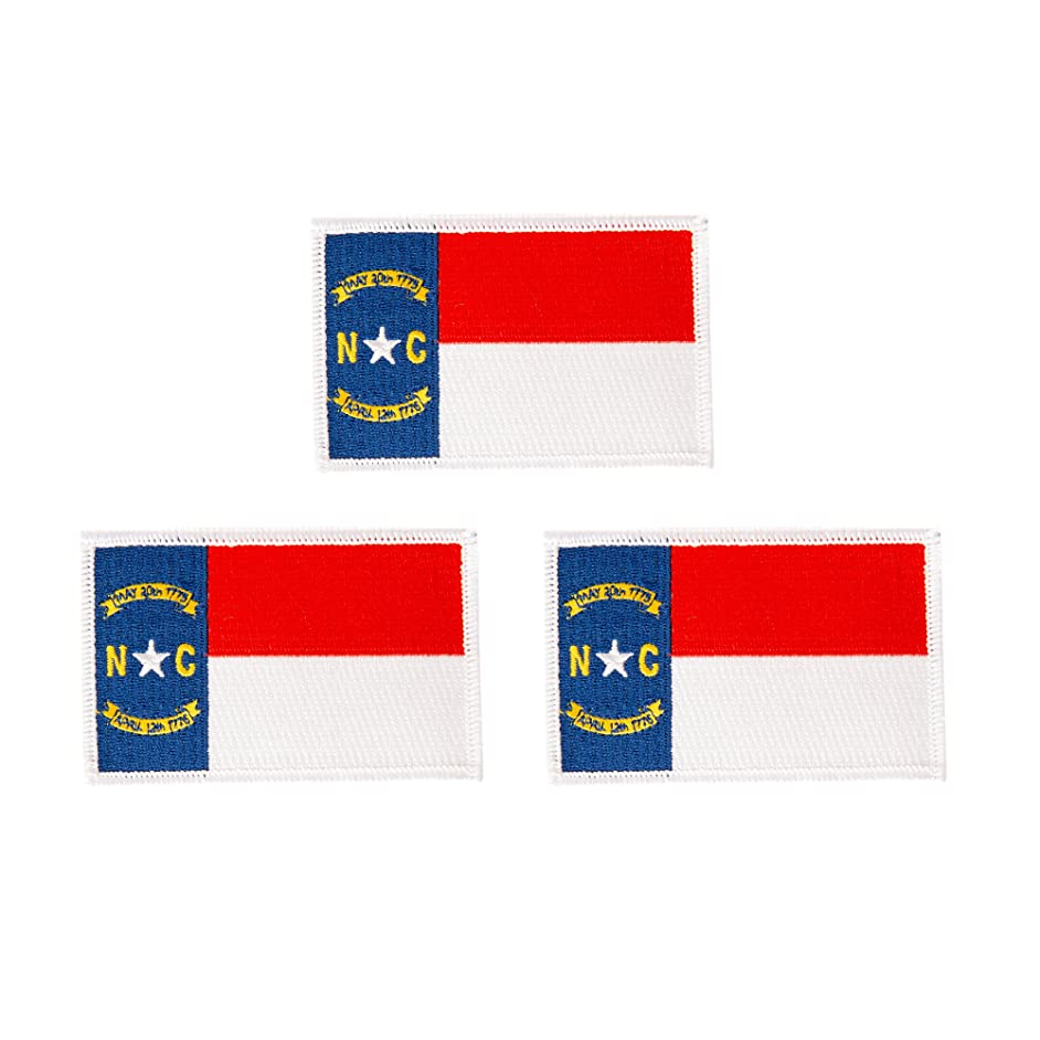North Carolina NC Flag Patch Bulk 3-Pack 3.5Wx2.25H State Iron On Sew Embroidered Tactical Morale Back Pack Hat Bags (3-Pack Patch)