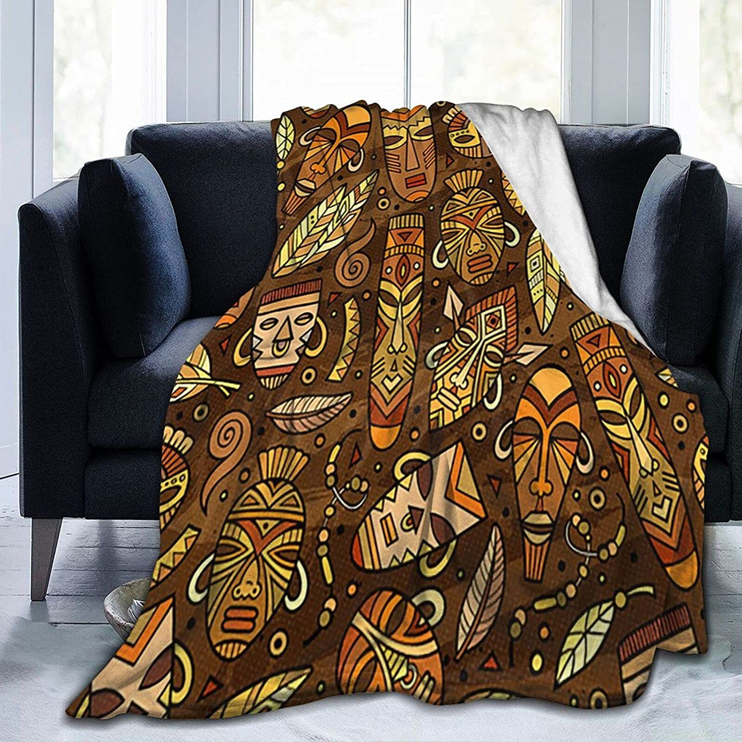 ZENGCY African High material Raleigh Mall Mask Motifs Ultra-Soft C Micro Fleece for Blanket