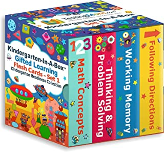 TestingMom.com Kindergarten-in-A-Box - Gifted Learning Flash Cards Bundle (Set 1) - Thinking/Problem Solving, Following Di...