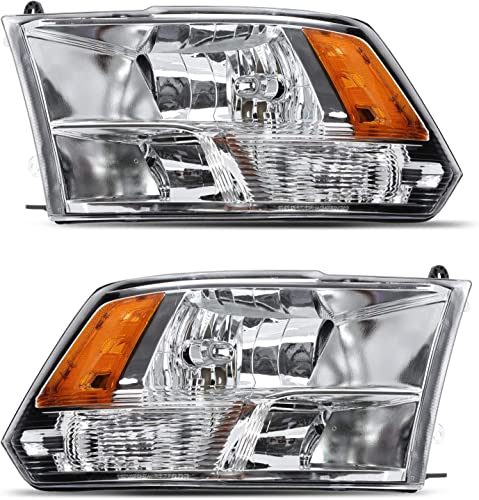 popular ALS sale Replacement For Ram 1500 2500 3500 Dodge 2009 2010 outlet sale 2011 2012 2013 2014 Pickup Headlights Assembly Chrome Housing Amber Reflector Passenger and Driver Side online sale