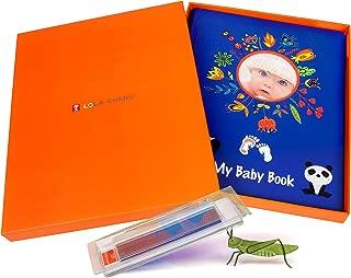 Designer Baby Memory Book Gift Set, Handprint & Footprint Ink Pad Kit, First 5 Year Baby Book, Modern Newborn Photo Album, Keepsake Scrapbook Journal to Record Milestones, Boy & Girl Shower Gifts