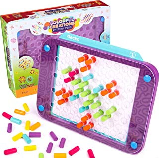 Colorful Creations Pattern Pegs | Creative Mosaic Crafting Toy | Color Matching to Make Art | Portable & Travel-Friendly | Includes Ten Pre-Made Designs & Inspiration Instructions