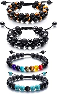 دستبند قابل تنظیم Lava Rock Stone Essential Oil Diffuser Oil، Rope Stone Yoga Beads