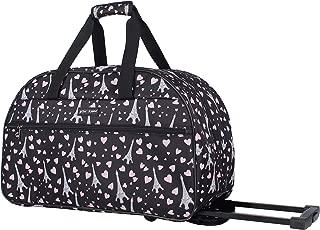 Betsey Johnson Luggage Designer Pattern Suitcase Wheeled Duffel Carry On Bag (Paris Love) (One Size, Paris Love)