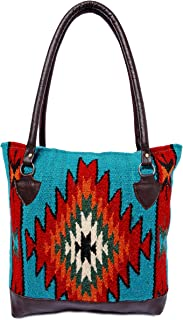Genuine Leather Large Eco Friendly Tote Bag, Native American Styles on Hand-Woven Wool
