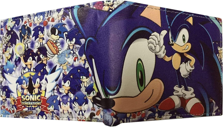 Marsheng Sonic the Hedgehog Sonic Generations waterproof Bifold Wallet Pu material Card package