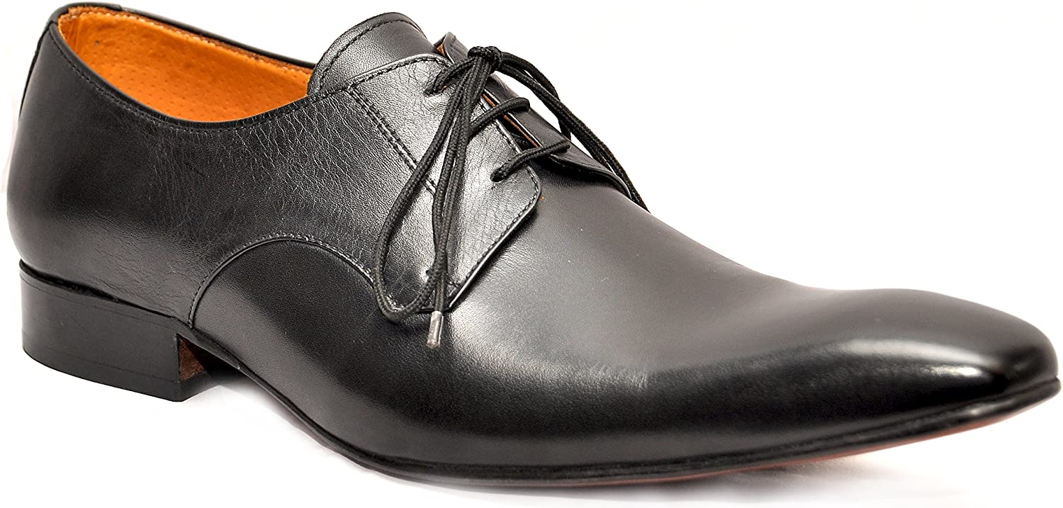 Johny Weber Handmade Plain Toe Derby Oxford Style Men shoes with Hand Welted Construction Black