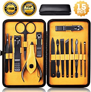 Nail Clippers Sets High Precisio Stainless Steel Nail Cutter Pedicure Kit Nail File Sharp Nail Scissors and Clipper Manicure Pedicure Kit Fingernails & Toenails with stylish case (Yellow Black)