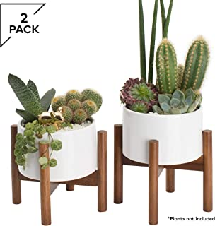 2 Pack Mid Century Modern Succulent Planter Tabletop, 5 Inch Pot with Wood Stand and Hidden Saucer, Round White Ceramic Planters, Shelf Decor Pots, Cactus and Plant Container with Drainage, Indoor