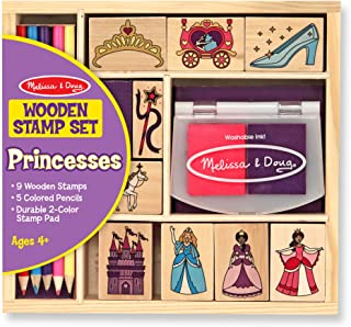 Melissa & Doug Wooden Stamp Set, Princesses (Arts & Crafts, Sturdy Wooden Storage Box, Washable Ink, 15 Pieces, Great Gift for Girls and Boys - Best for 4, 5 and 6 Year Olds)