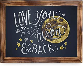 Rustic Torched Wood Magnetic Wall Chalkboard, Large Size 18