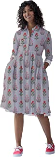RADANYA Women's Long Sleeve Short Length Dress Cotton Printed Top Tunic Beachwear Dresses for Her