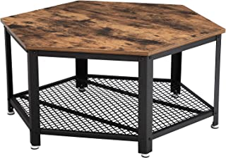 VASAGLE Industrial Coffee Table, Hexagonal Wooden Table, Stable Metal Frame and Mesh Shelf, Rustic Brown