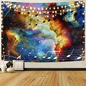 KYKU Sheet Music Tapestry for Wall Purple Decor Galaxy Tapestry for Bedroom Aesthetic Nebula Poster Space College Dorm Room Wall Cool Art Posters (59.1