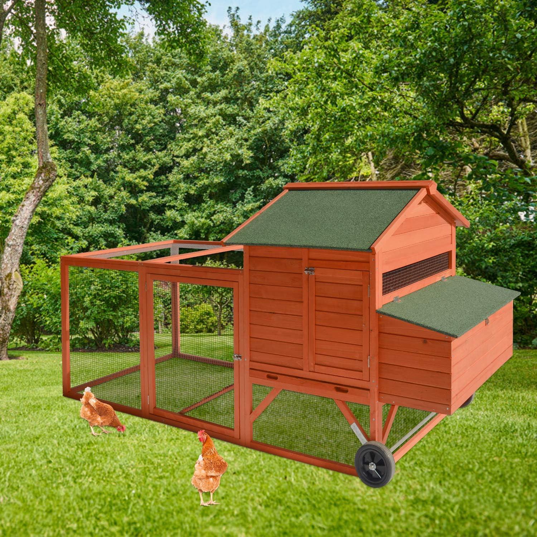 Wooden Chicken Branded goods Coop Rabbit Poultry Larg Wheels with Cage Regular dealer Outdoor