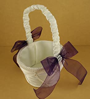IVORY Wedding Flower Girl Lattice Design Basket Organza Bow & Faux Rhinestone Accent (PLUM PURPLE BOW)