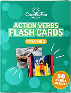 Action Verbs Flash Cards Vol 2 - 50 Vocabulary Builder Picture Cards - 6 Starter Teaching Activities for All Ages – Including Parents, Teachers, Speech Therapy Materials and ESL Teaching Materials