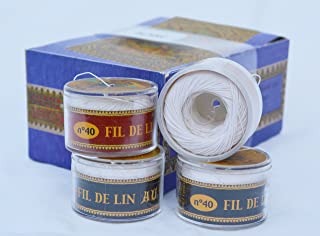 Fil Au Chinois Waxed Linen Single Ply Sewing Thread in 50m Capsules - CHOOSE your COLOR - MADE IN FRANCE (No. 100 White)