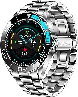 LIGE Montre Connectée Homme,Smartwatch Montre à Ecran Tactile Complet 1,3'', Montre Intelligente IP67 Aacier Inoxydable av...