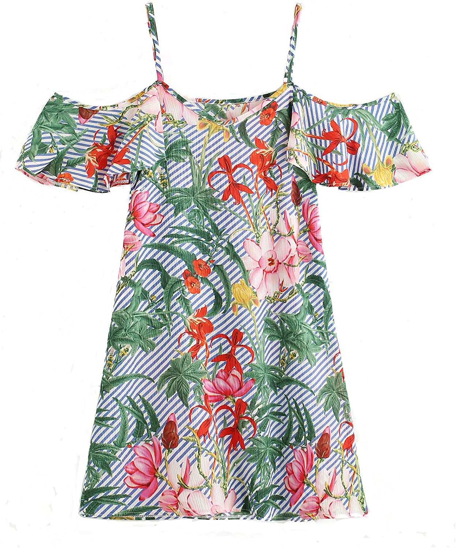 Milumia Women's Random Jungle Print Striped Off Shoulder Dress