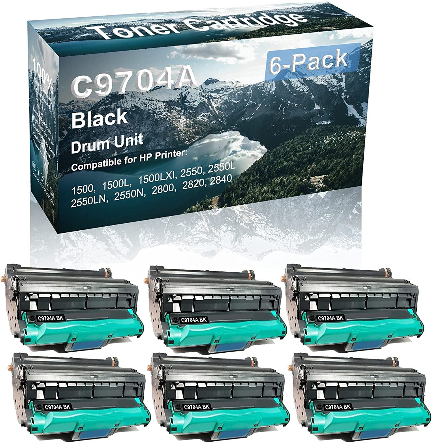 6-Pack Compatible C9704A Drum Kit use for HP 1500 1500L 1500LXI Printer (Black)