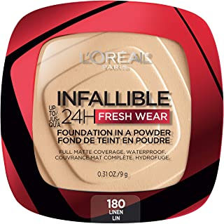 L'Oreal Paris Infallible Fresh Wear Foundation in a Powder, Up to 24H Wear, Linen, 0.31 oz.