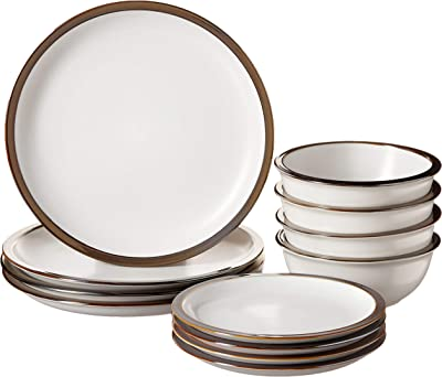 "Elle Décor Metallic Round Dinnerware Set – 12-Piece Stoneware Party Collection w/ 4 Dinner Salad Plates, 4 Bowls –Gift Idea for Special Occasions, 10.5"", White"