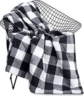 Wake In Cloud - Buffalo Check Blanket Throw, 100% Washed Cotton Fabric with Soft Microfiber Inner Fill, Plaid Gingham Geometric Checker Pattern Printed in Black Gray Grey and White (50
