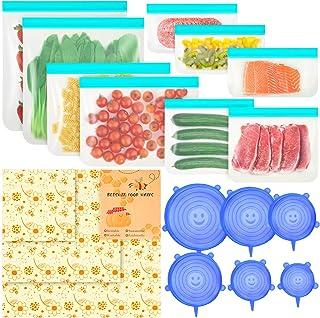 18 Pcs-Beeswax Wrap 3 Pcs & BPA FREE Reusable Food Storage Bags 9 Pcs & Silicone Stretch Lid 6 Pcs,Eco-Friendly Freezer Pr...