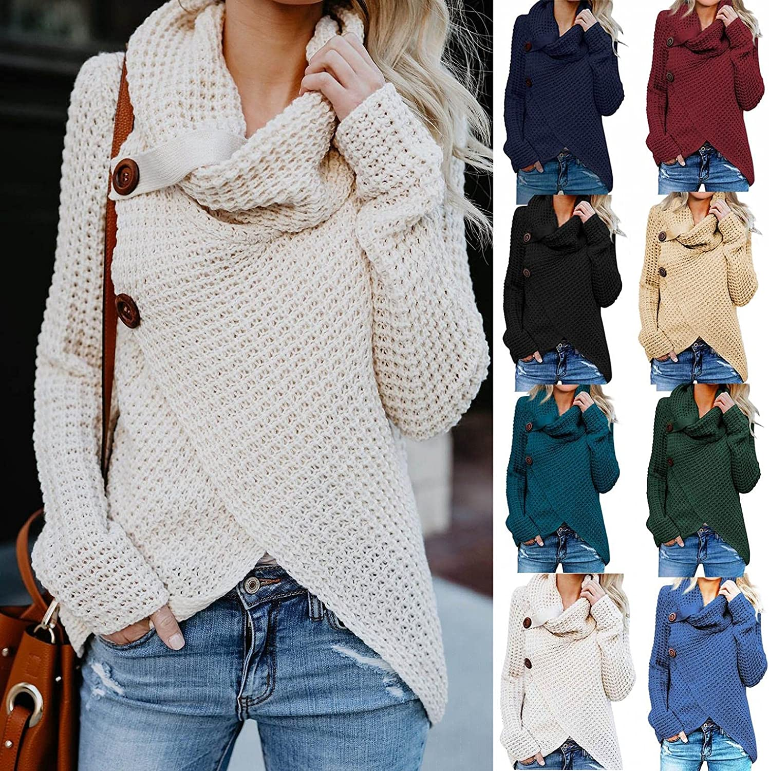 Gibobby Sweaters for Women Casual,Womens Button Cowl Neck Sweaters Long Sleeve Asymmetric Wrap Knit Pullover Sweatshirts