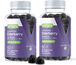 Sponsored Ad - [60 Count 2 Pack] Sambucus Black Elderberry Gummies - Immune Booster Plus Zinc & Vitamin C - Herbal Dietary...