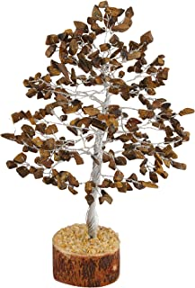 FASHIONZAADI Tiger Eye Natural Stone Feng Shui Bonsai Money Tree for Good Luck Chakra Balancing Crystal Gemstone Energy Decor Home Gift Size -10 Inch (Silver Wire)
