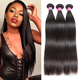 ISEE Hair 8A Brazilian Virgin Straight Hair 3 Bundles 100% Unprocessed Human Hair Weave Extensions Natural Color Can Be Dyed and Bleached 10inches