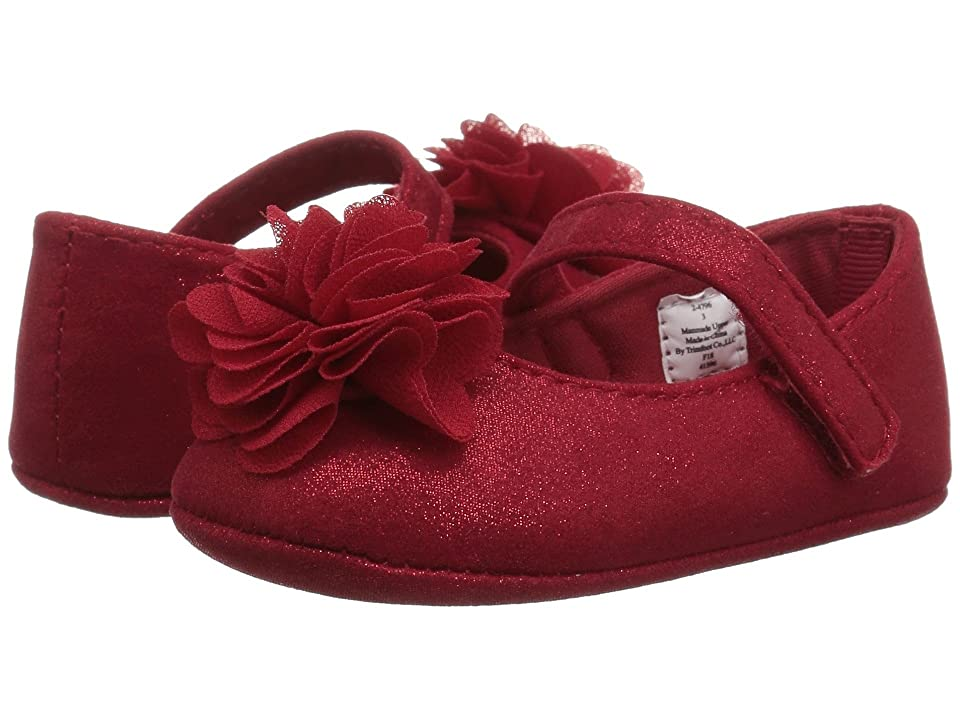 Baby Deer Soft Sole Shimmer Mary Jane with Flower (Infant) (Red) Girl