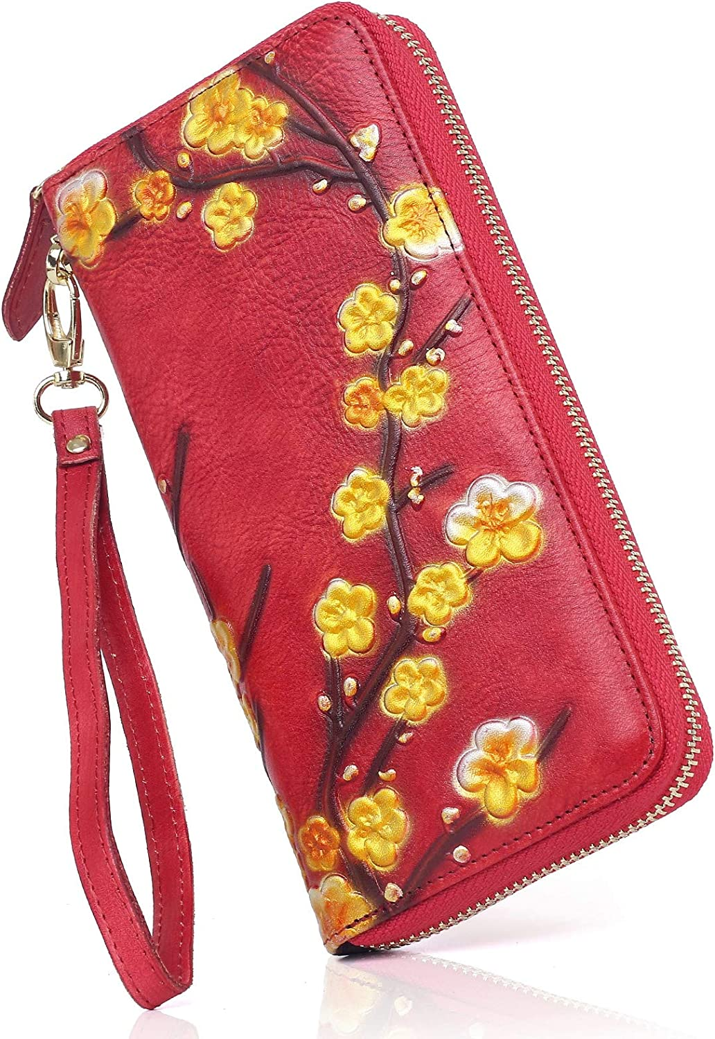 APHISON Women RFID Leather Wallet Wr Ladies Painted Ranking TOP12 Flowers Max 55% OFF Hand