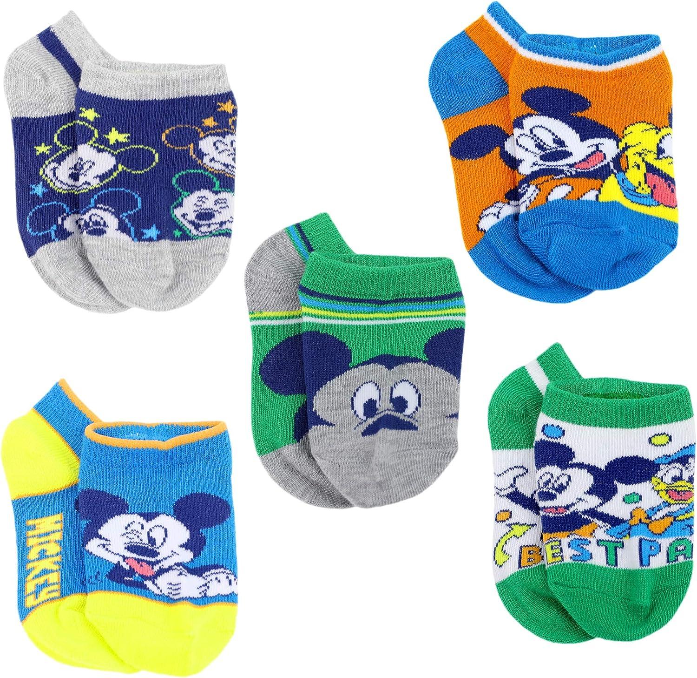 Disney Mickey Mouse Little Boys 5 pack Socks, 2T-4T (Shoe: 4-7), Blue/Green/Grey
