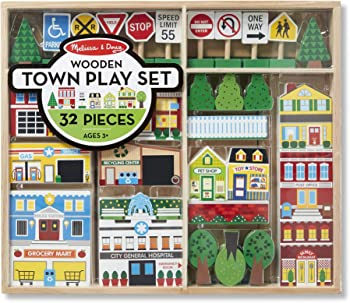 Melissa & Doug Wooden Town Play Set (32 Pieces)