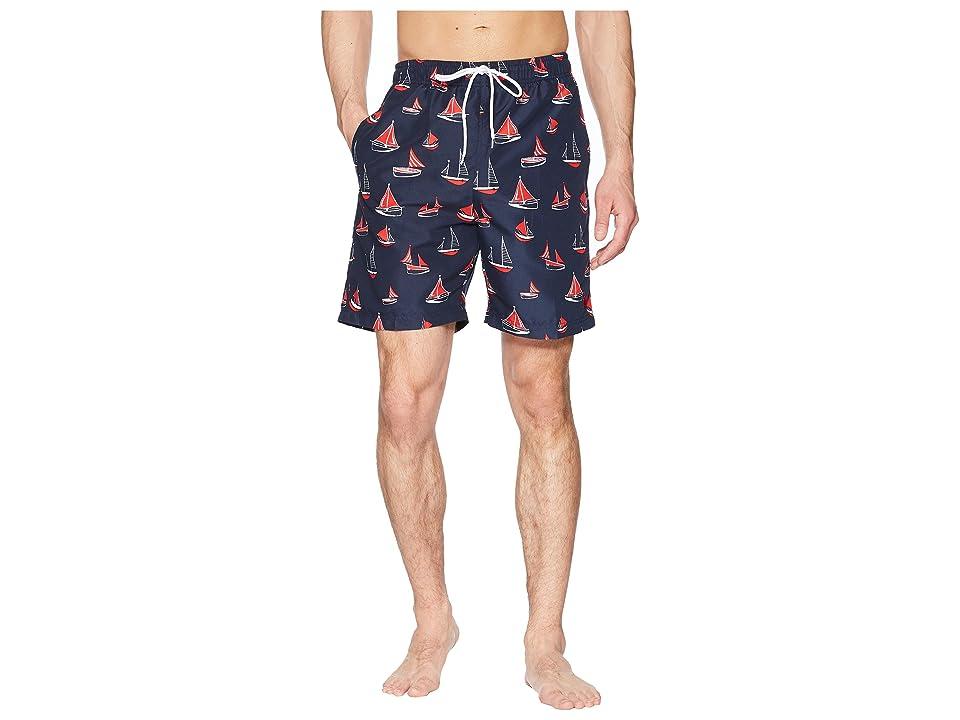 U.S. POLO ASSN. 7 Boat Print Swim Shorts (Classic Navy) Men