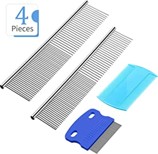 Boao Pet Grooming Comb Cats Dogs Comb Tear Stain Remover Comb Plastic Double Sided Comb Stainless Steel Grooming Tool 4 Pieces for Gently Grooming, Clean Tangle/Knot/Dirt/Loose Hair