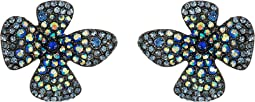Blue Pave Flower Stud Earrings