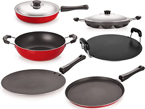 Nirlon 6 Piece Non Stick Coated Pure Aluminium Kitchenware Utencil Combo Set with Bakelite Handle