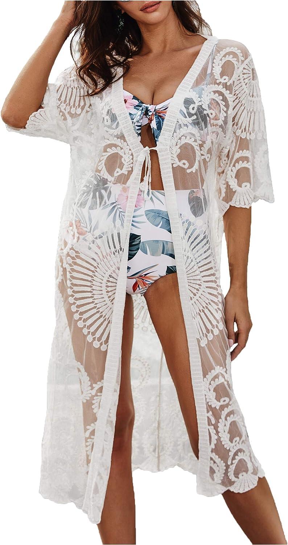 Wander Agio Womens Bikini Cover Ups Beach Coverup Swimsuits Sunscreen Long Covers Embroider