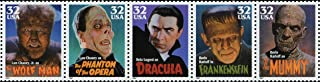 MOVIE MONSTERS ~ LON CHANEY JR / THE WOLF MAN ~ BORIS KARLOFF / THE MUMMY / FRANKENSTEIN ~ BELA LUGOSI / DRACULA ~ LON CHANEY / PHANTOM OF THE OPERA #3172a Strip of 5 x 32¢ US Postage Stamps