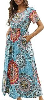 Damen Sommer Maxikleid Casual Elegant Freizeitkleid Kurze Ärmel mit Taschen